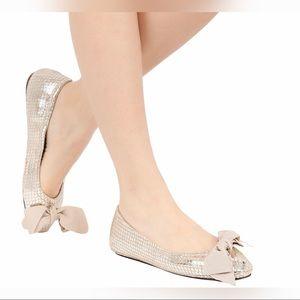 Isabel Marant Gold Python Bow Ballerina Rilla Flat
